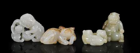 Group of Four Chinese Carved Jade Animals