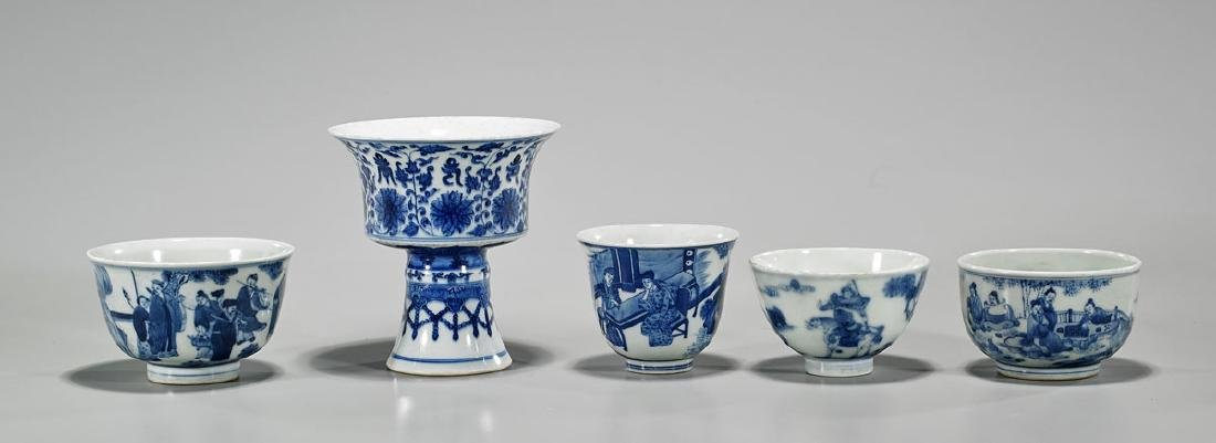 Group of Five Chinese Blue & White Porcelain Cups