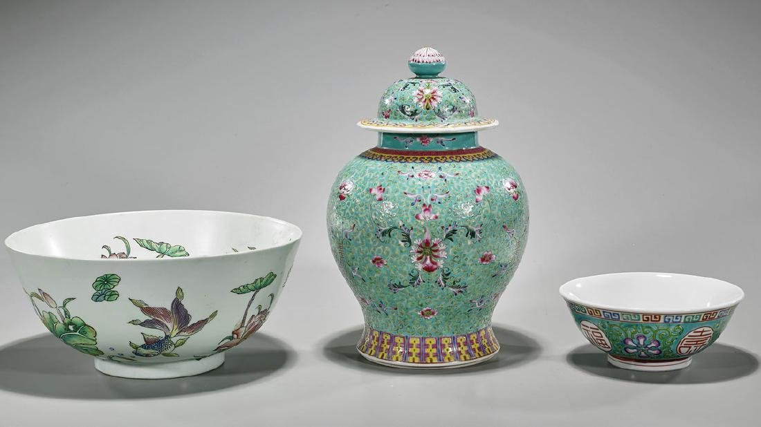 Group of Three Chinese Enameled Porcelains
