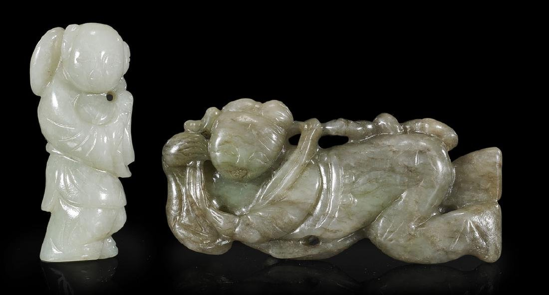 Two Chinese Carved Jade Figures