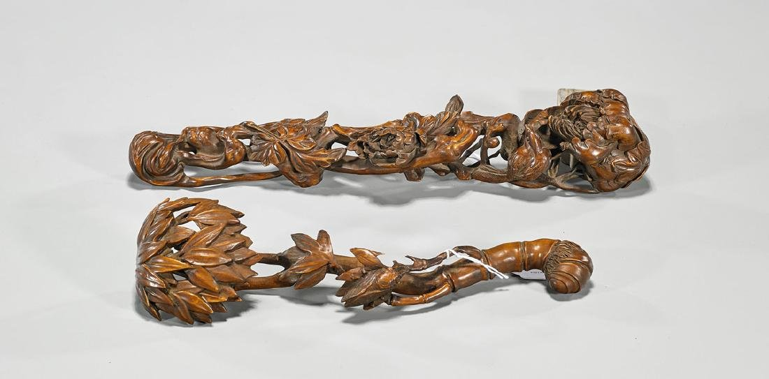 Two Chinese Carved Wood Ruyi Scepters