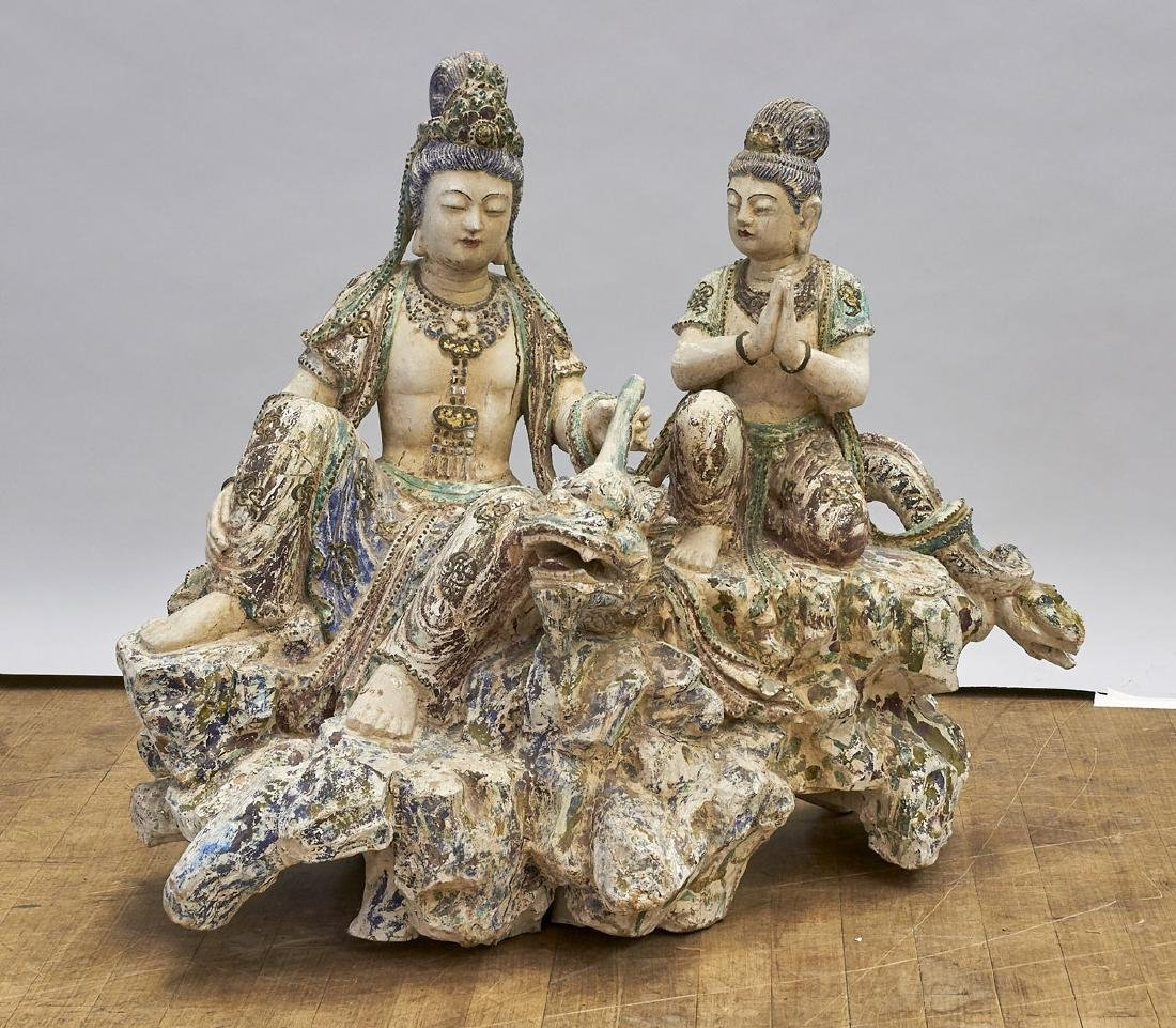 Large Chinese Carved & Polychrome Wood Guanyin
