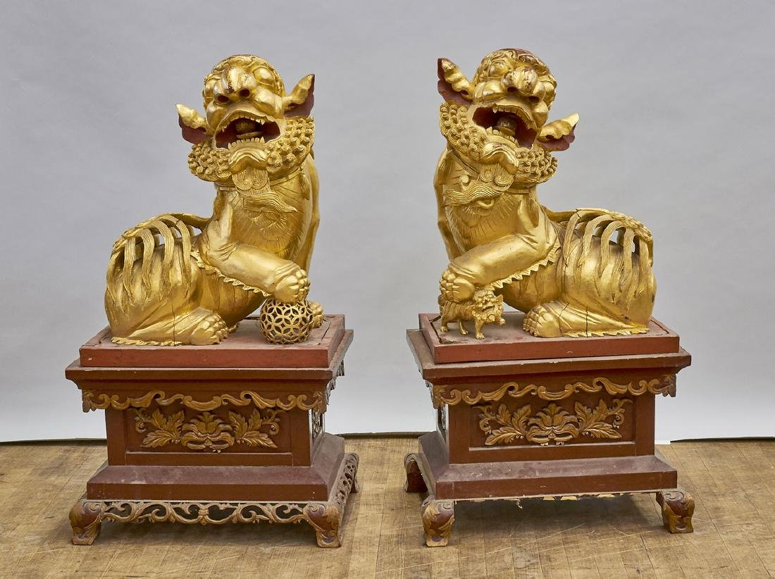 Pair Chinese Carved Gilt & Lacquered Wood Fo Lions