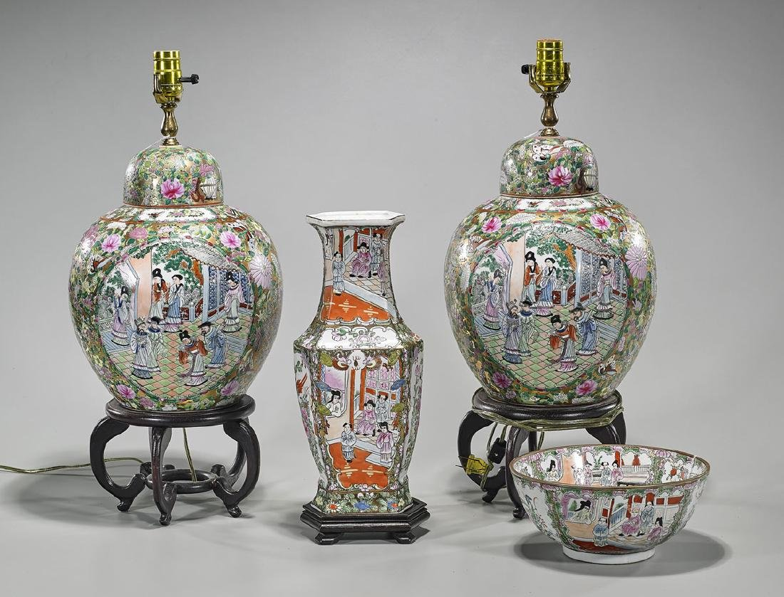 Group of Four Chinese Famille Rose Enameled Porcelains