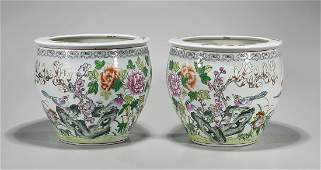 Pair Chinese Enameled Porcelain Fish Bowls