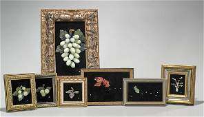 Group of Seven Various Framed Chinese Carvings
