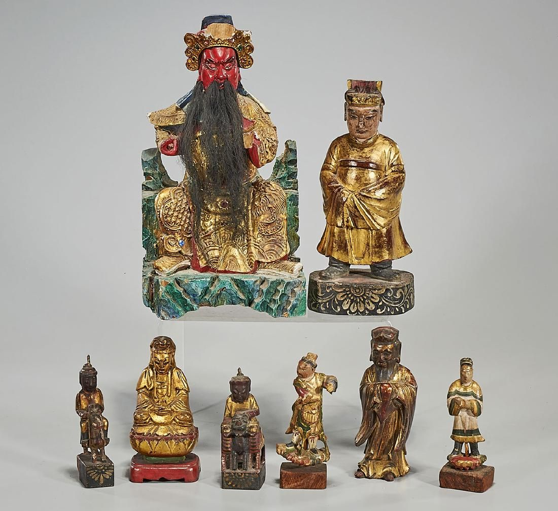 Group of Eight Various Chinese Carved Wood Figures