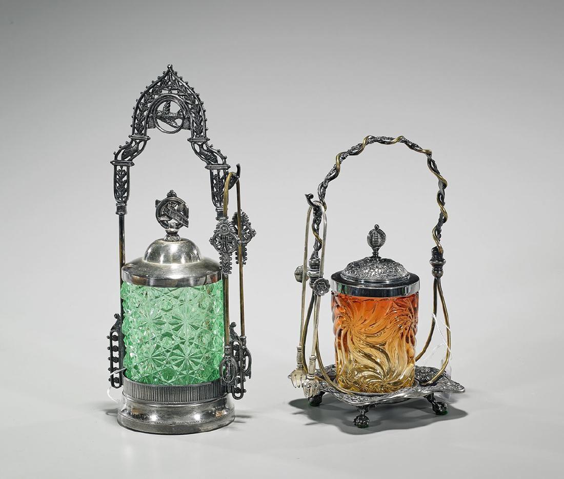 Two Silverplate & Glass Pickle Castors