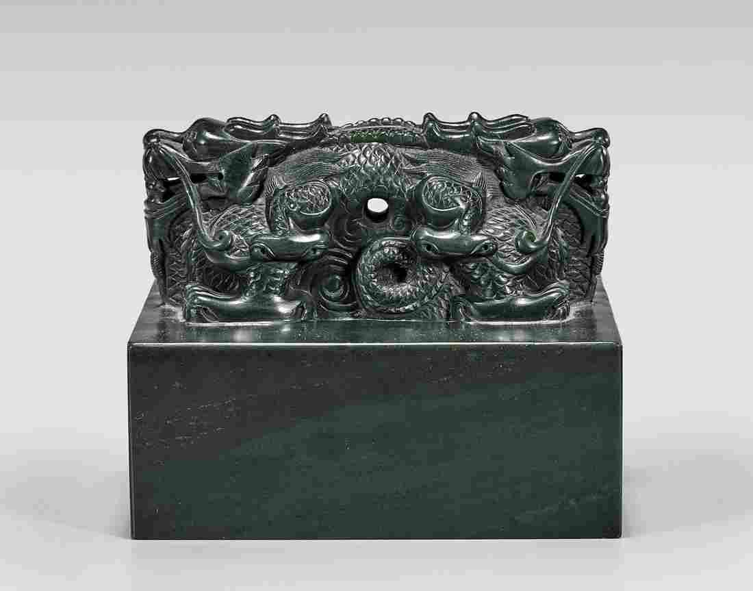 LARGE CARVED SPINACH JADE SEAL