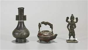 Three Antique Chinese  Indian Bronzes