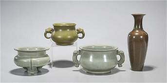 Group of Four Chinese Glazed Porcelains