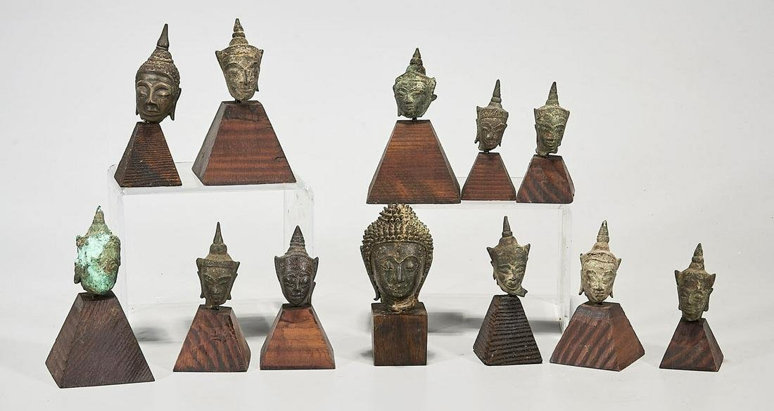 Collection of Antique Southeast Asian Heads of Buddha