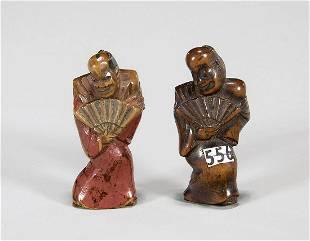 Two Antique Wood Netsuke