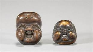 Two Antique Wood Mask Netsuke
