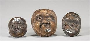 Three Old Antique Wood Mask Netsuke
