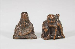 Two Antique Carved Wood Netsuke