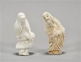 Two Antique Old Ceramic Netsuke