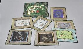 Group of Eight Various Embroidered Textiles