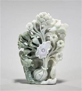 Chinese Carved Jadeite Lotus Bird Group