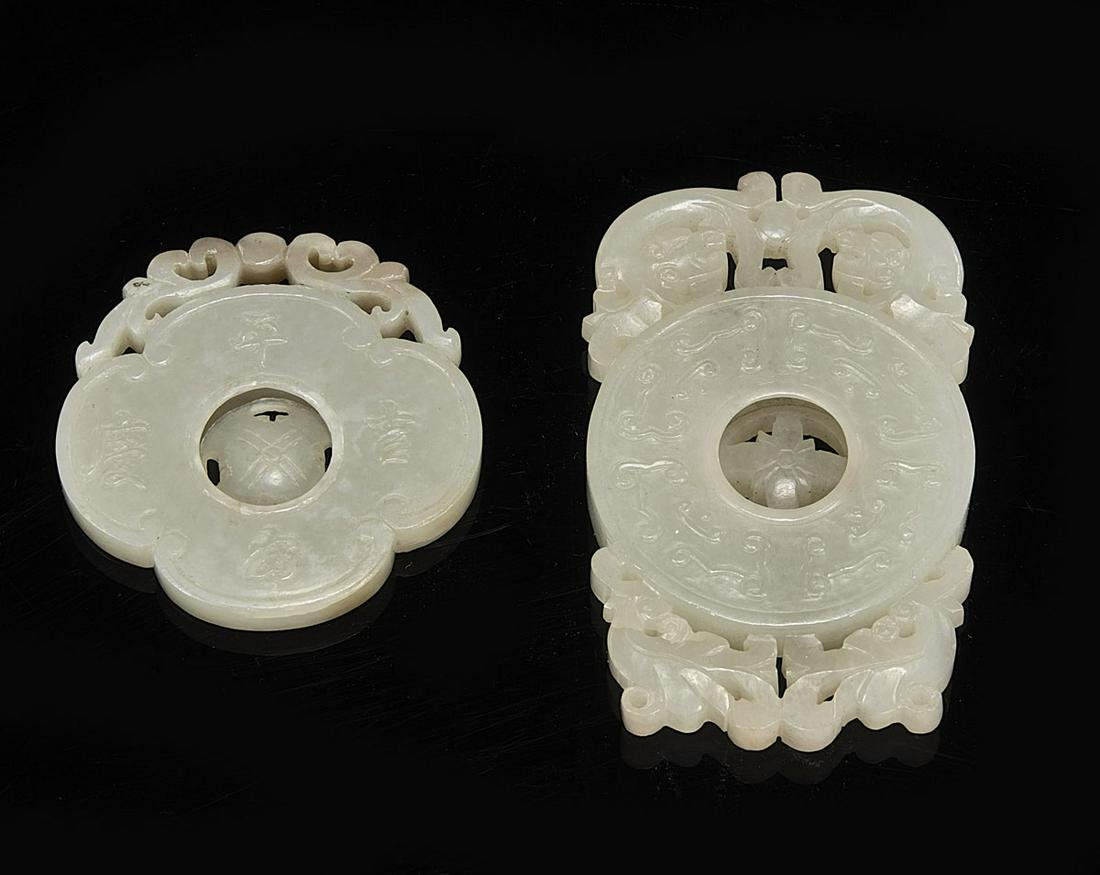 Two Antique Chinese Openwork Carved Jade Pendants