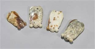Four Antique Chinese Carved Jade Hardstone Cicadas