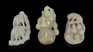Three Chinese Carved Jade Toggles