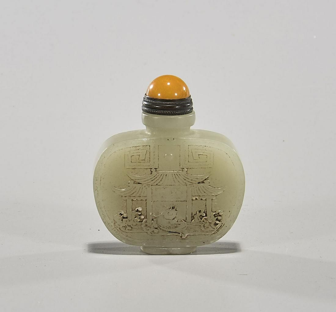 Chinese Carved Celadon Jade Snuff Bottle