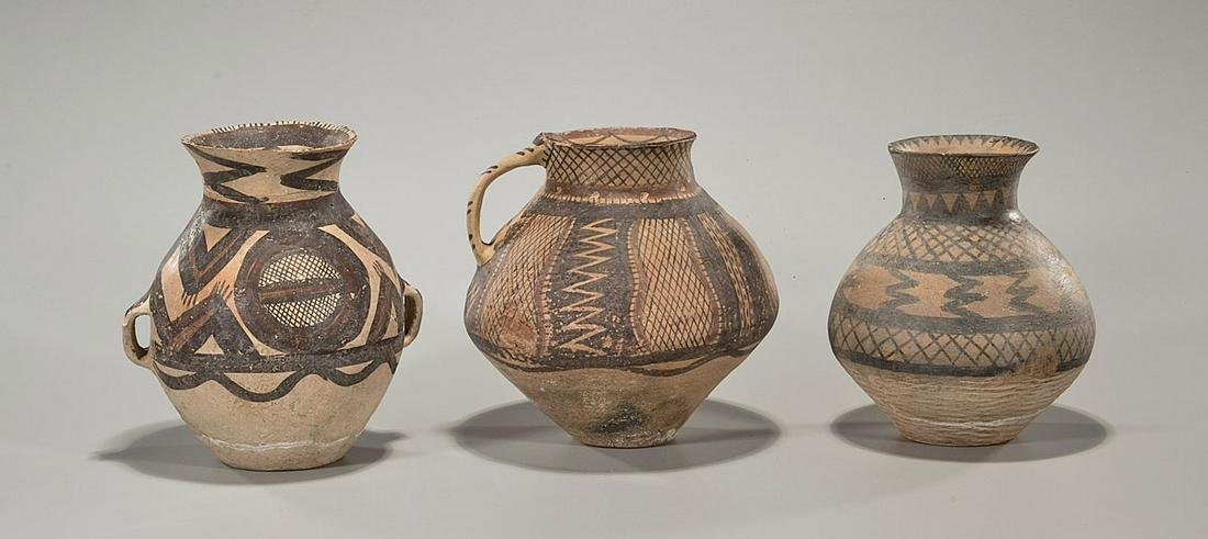 Group of Three Chinese Neolithic-Style Painted Pottery