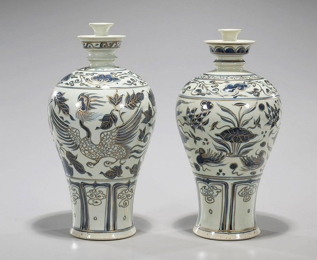 Pair of Chinese Early-Style Gilt and Blue & White