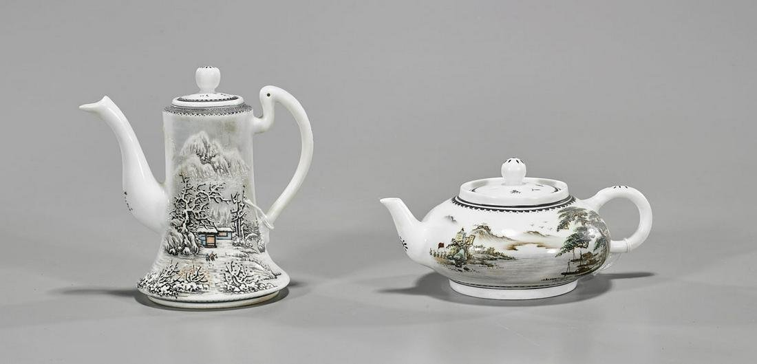 Two Chinese Enameled Porcelain Teapots