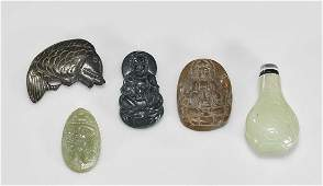Group of Five Chinese Jade  Hardstone Carvings