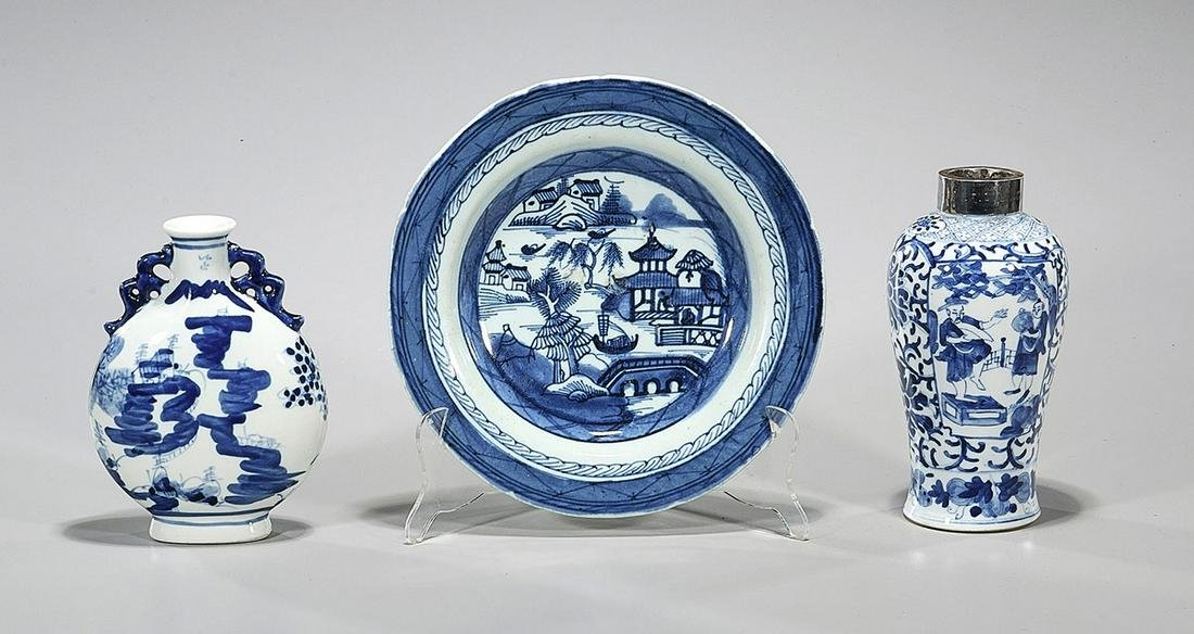 Group of Three Blue & White Chinese Porcelains
