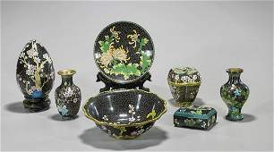 Group of Seven Chinese Black Ground Cloisonne Enamel