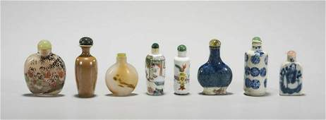 Group of Eight Various Chinese Snuff Bottles