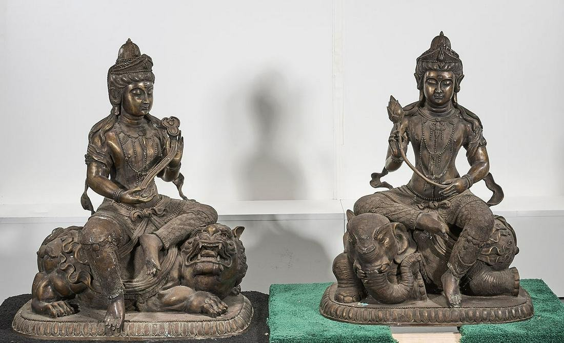 Pair Chinese Metal Buddhist Figures Seated on Animals