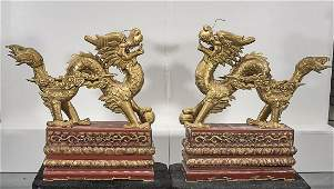 Pair Chinese Gilt Wood Carved Dragons