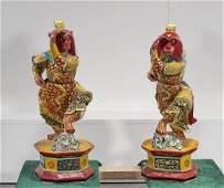 Pair Chinese Painted & Gilt Wood Monkeys