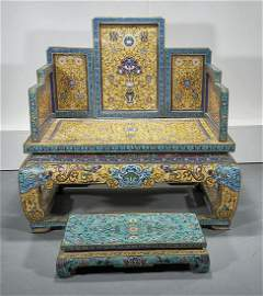 Chinese Cloisonne Enamel Throne With Footstool
