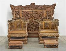 Two Elaborately Carved Chinese Wood Thrones With Screen