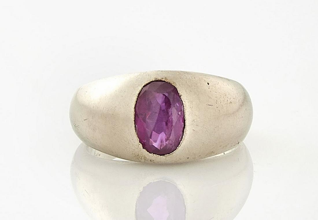 14K White Gold & Ruby Ring