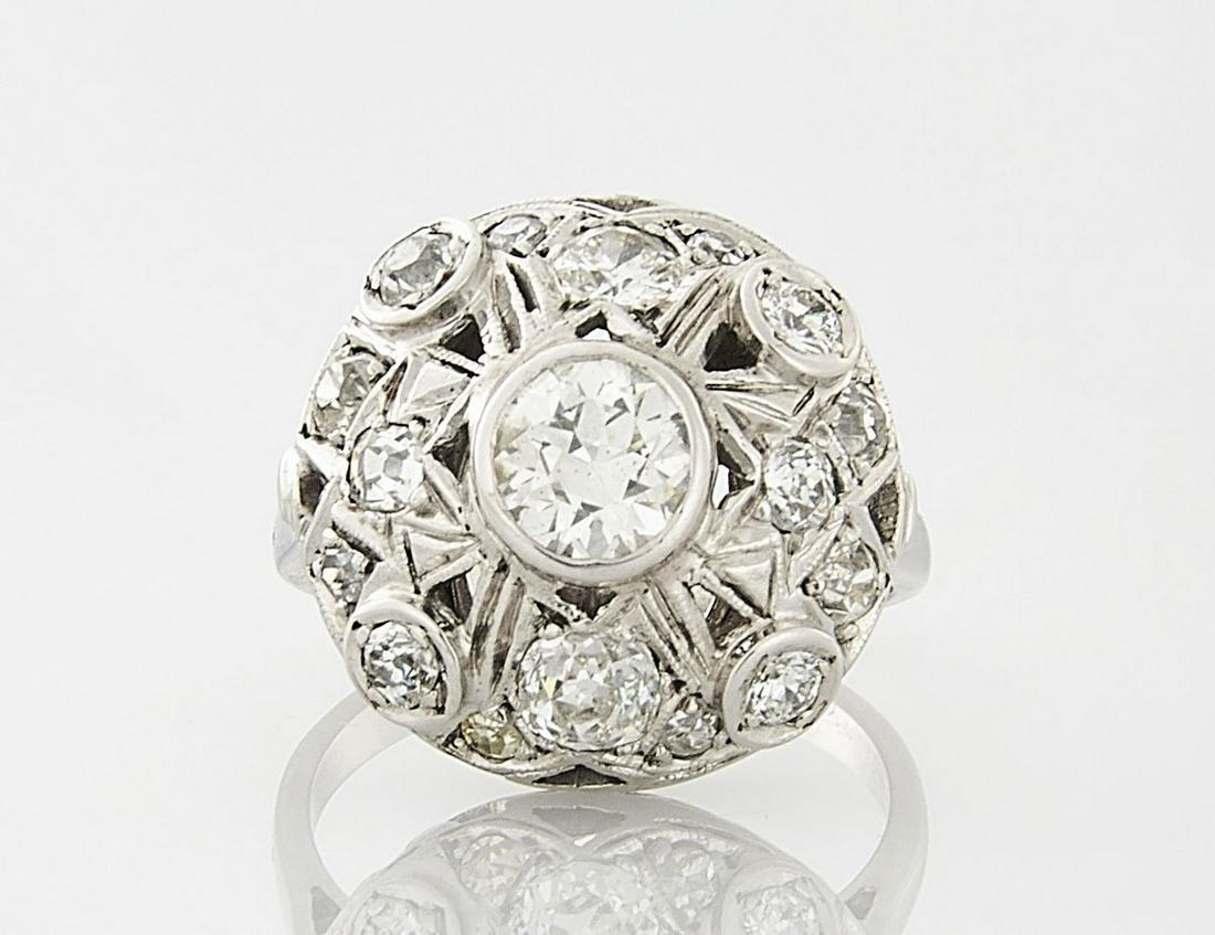 Art Deco-Style 14K White Gold & Diamond Ring
