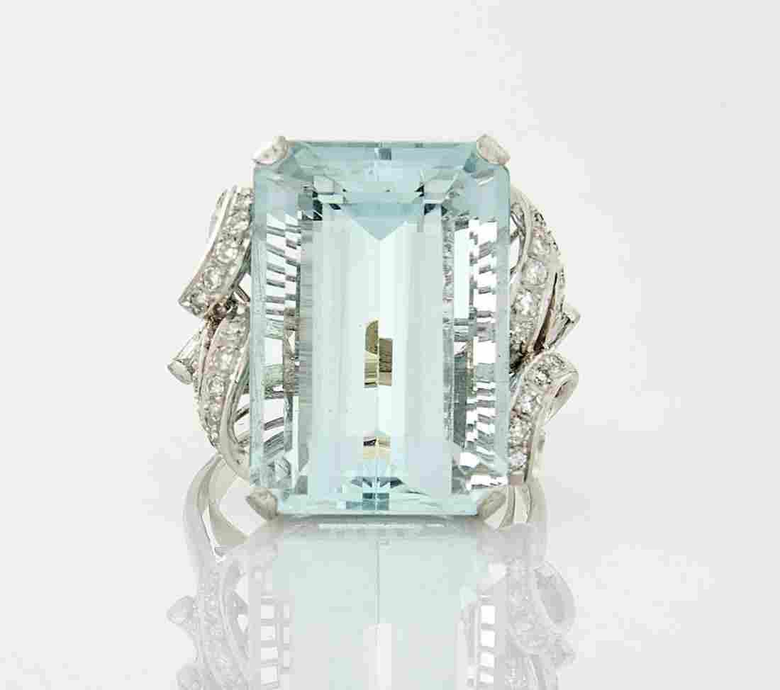 14K White Gold, Aquamarine, & Diamond Ring