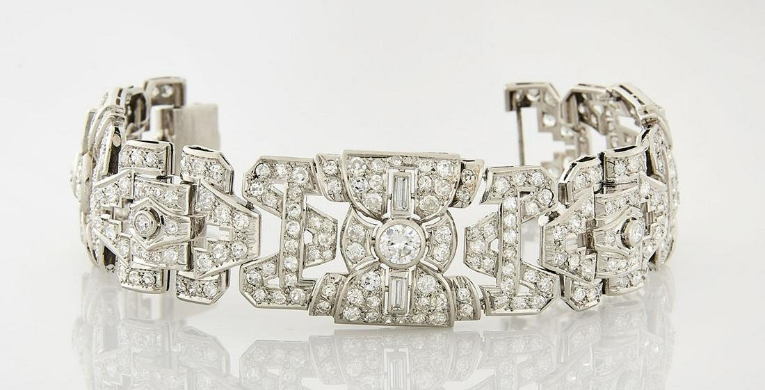 Art Deco-Style Platinum & Diamond Bracelet