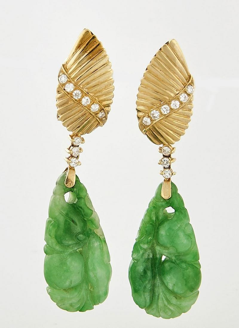 18K Yellow Gold, Jadeite & Diamond Earrings