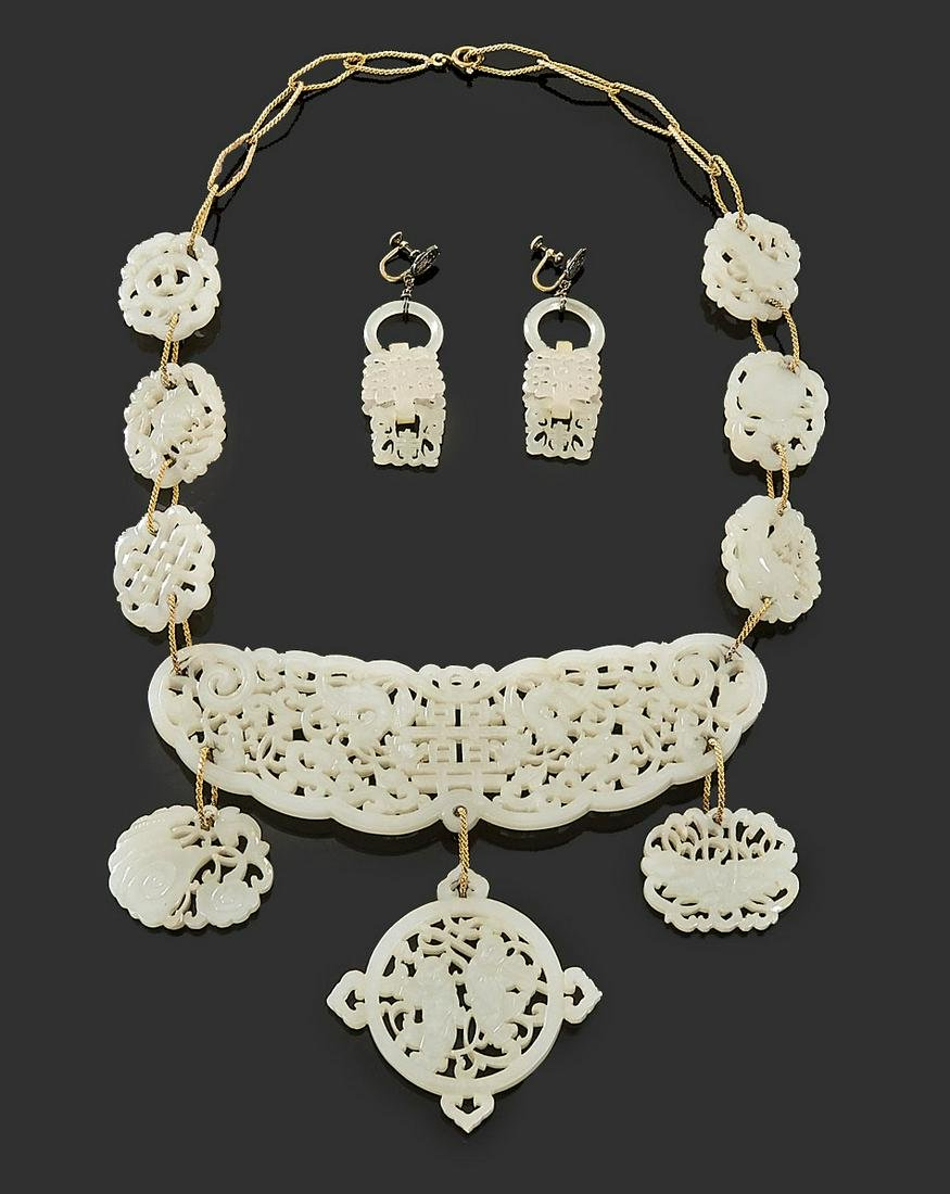 Antique Chinese White Jade Carved Necklace & Earring
