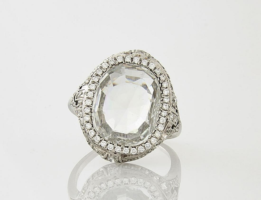 Platinum, White Sapphire & Diamond Ring
