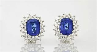 Tiffany  Co Platinum Tanzanite  Diamond Earrings