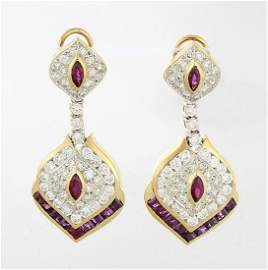Pair 14KT Yellow Gold, Ruby and Diamond Earrings