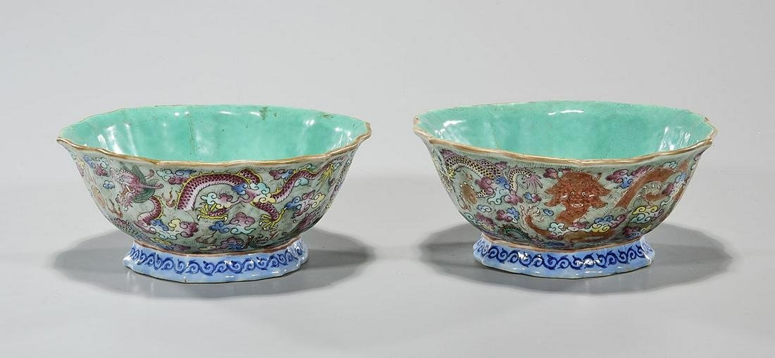 Pair of Antique Chinese Famille Rose Porcelain Footed