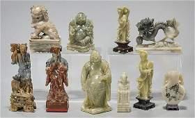 Group of Ten Chinese Various Hardstone Carvings